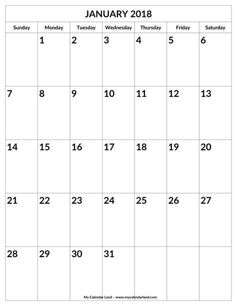 printable calendar large spaces january 2018 calendar my calendar land