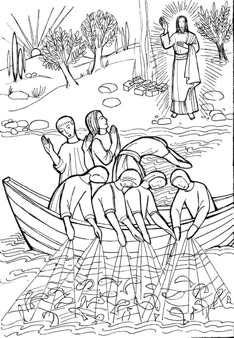bible coloring pages fish fish color pages jesus the miraculous catch of fish