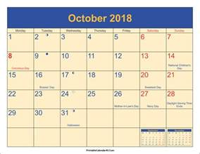 Calendar 2018 Printable October October 2018 Calendar Printable With Holidays Pdf And Jpg