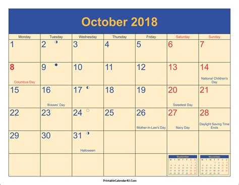printable calendar 2018 with moon phases october 2018 calendar printable with holidays pdf and jpg