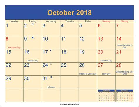 Calendar 2018 October Printable October 2018 Calendar Printable With Holidays Pdf And Jpg