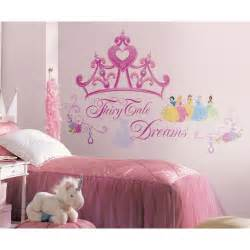 DISNEY PRINCESS CROWN WALL DECALS Girls Stickers Pink Bedroom Decor