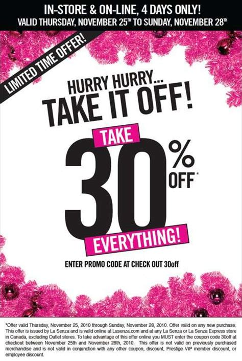 la senza 30 everything in store and nov 25