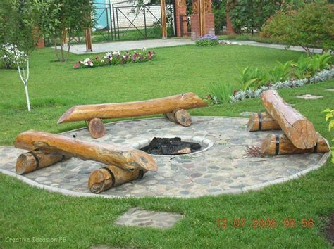 diy outdoor pit seating diy log seating around pit backyards outdoor