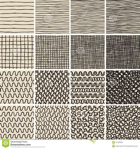 art pattern repetitive basic doodle seamless pattern set no 1 in black and white