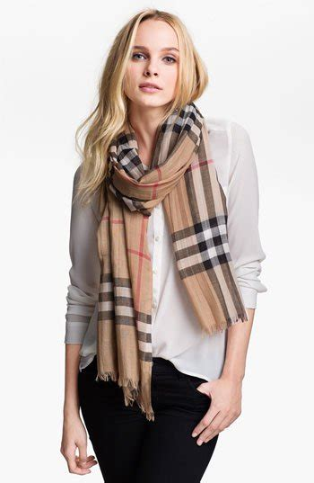 Burberry Giant Check Print Wool & Silk Scarf   Nordstrom