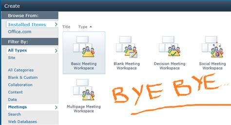 meeting workspace removed in sharepoint 2013