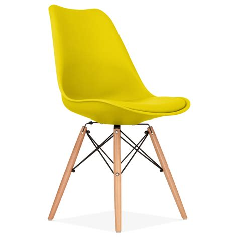 eames inspired dining chair in yellow with dsw wood legs