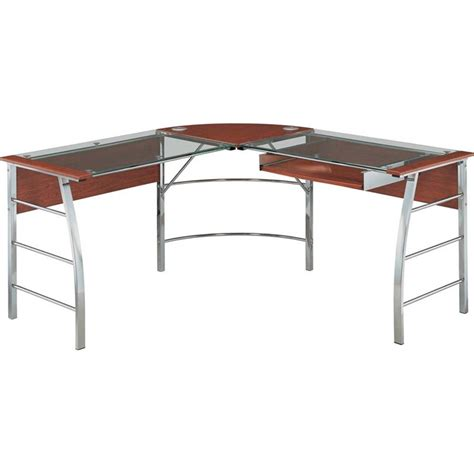 Glass Desk L Shaped Glass Top L Shaped Computer Desk In Cherry 9105296com
