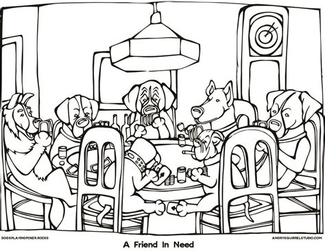 dogs playing poker coloring page a friend in need dogs playing poker rocks angry