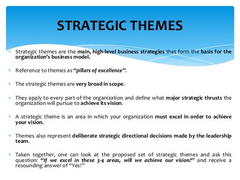 strategic themes exles balanced scorecard