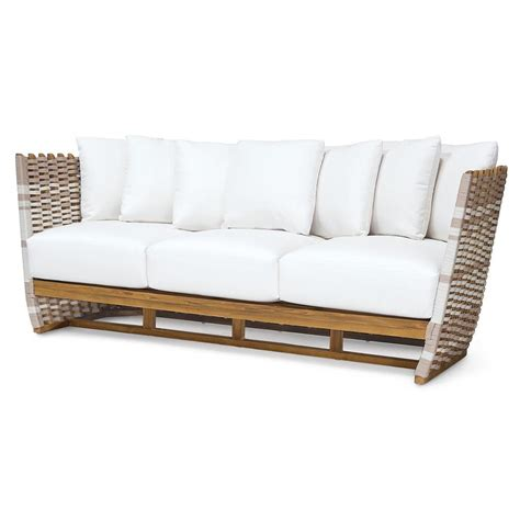 outdoor sofa palecek san martin modern classic rope wrapped outdoor sofa kathy kuo home