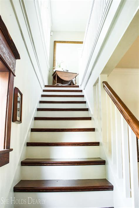 how to refinish stair banister how to refinish old wood stairs she holds dearly