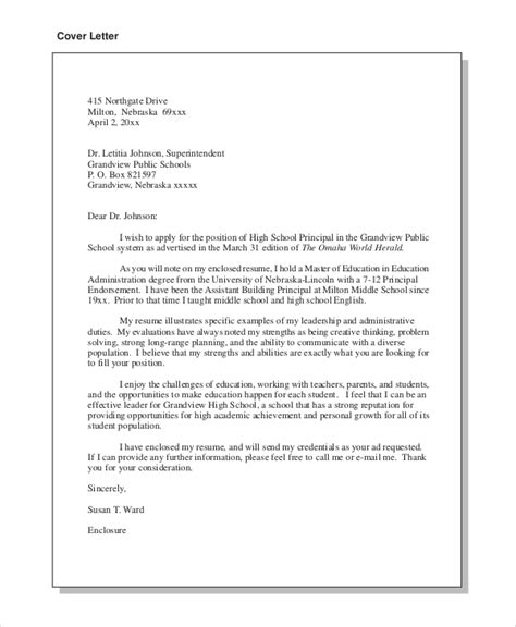Address Cover Letter To Principal Or Superintendent Cover Letter Exle For 8 Sles In Word Pdf