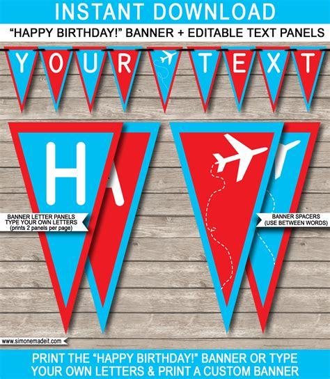 free printable airplane banner airplane party banner template happy birthday bunting