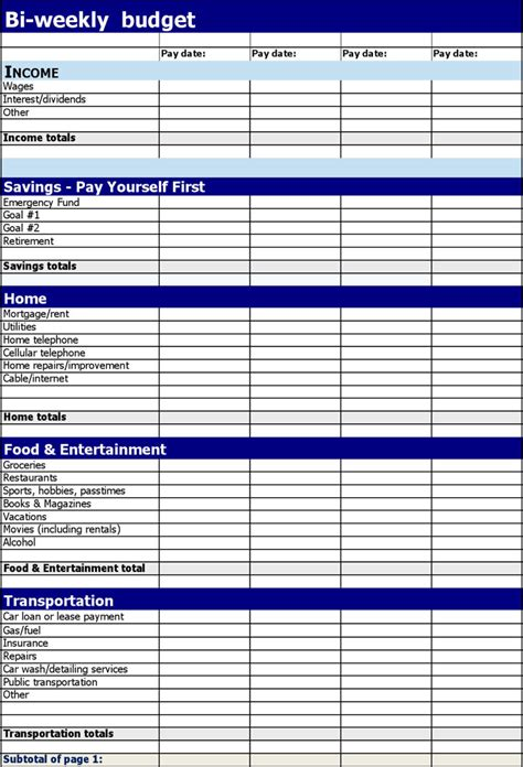 budget templates bi weekly budget template for free tidyform