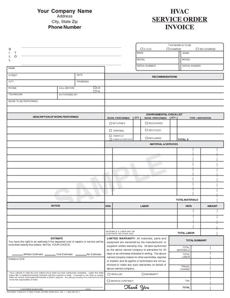 Hvac Invoice Template Printable Invoice Template Hvac Invoice Template