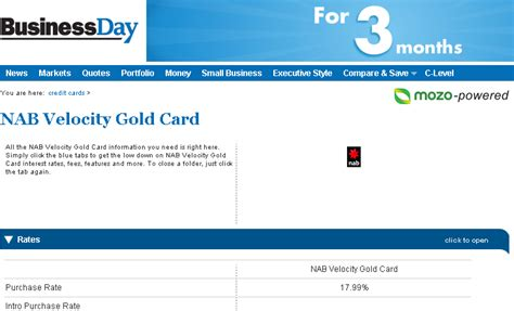 Velocity Card Template by Nab Business Credit Card Application Form Image