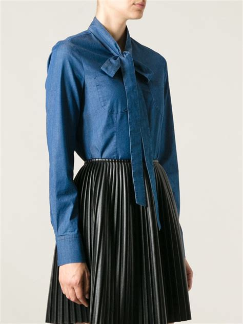 Collar Shirt With Bow Tie Blue valentino bow denim shirt in blue lyst