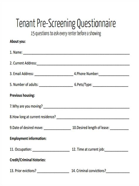 8 Tenant Questionnaire Form Sles Free Sle Exle Format Download Phone Screen Questions Template