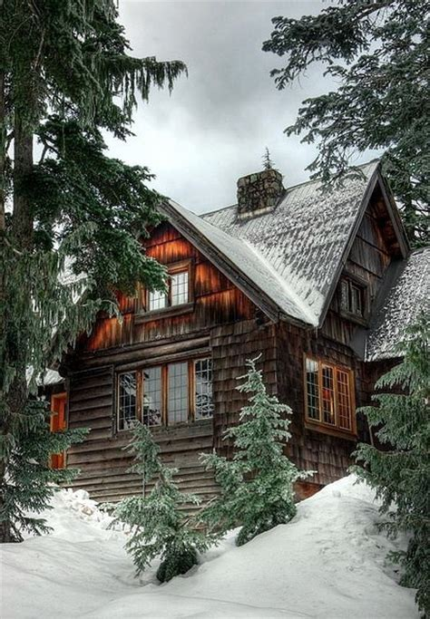 winter cabin mountain