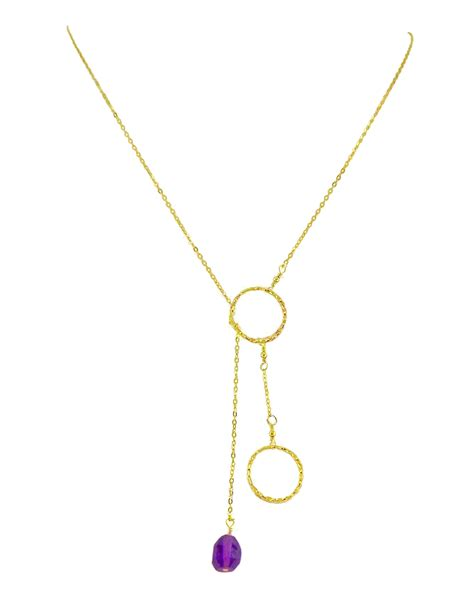 two circle rings necklace with amethyst pendant