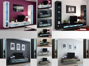 Wall Cabinets Living Room Furniture High Gloss Living Room Set With Led Lights Tv Stand Wall Mounted Cabinet Ebay