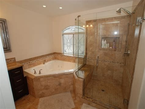 corner tub shower seat master bathroom reconfiguration