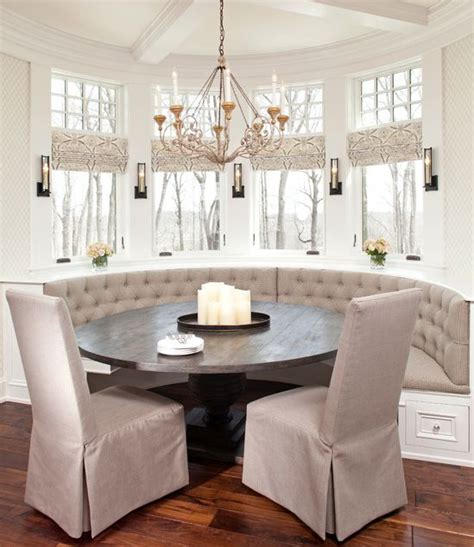 Dining Room Table With Banquette Seating Updated Traditional Tufted Banquette Seating Window Treatments Table Interior Design