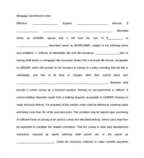 Commitment Letter Defined Sle Mortgage Commitment Letter 6 Free Documents In Pdf Word