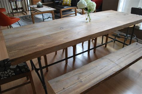 galvanized pipe bench reclaimed wood and steel pipe leg table and hairpin leg bench eclectic chicago