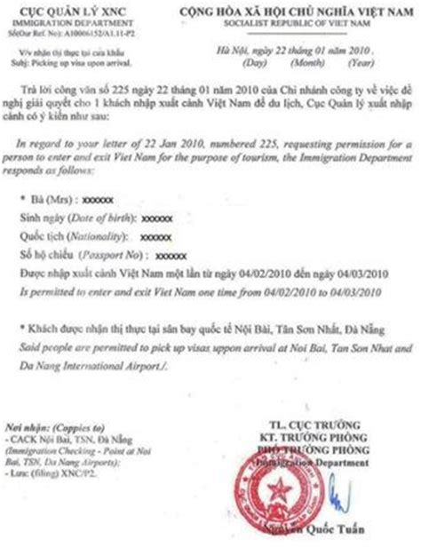 Approval Letter From Employer To The Embassy For A Vacation Visa On Arrival Voa For