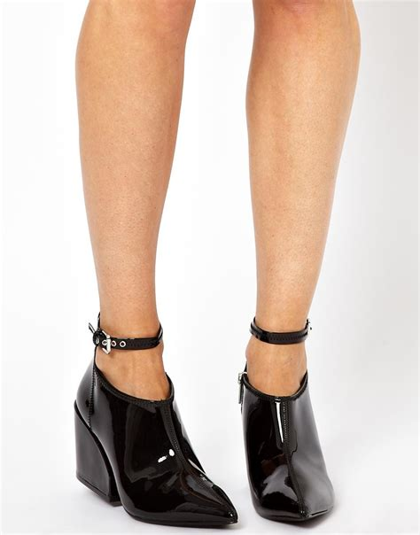 cheap monday cube black heeled shoe boots in black lyst