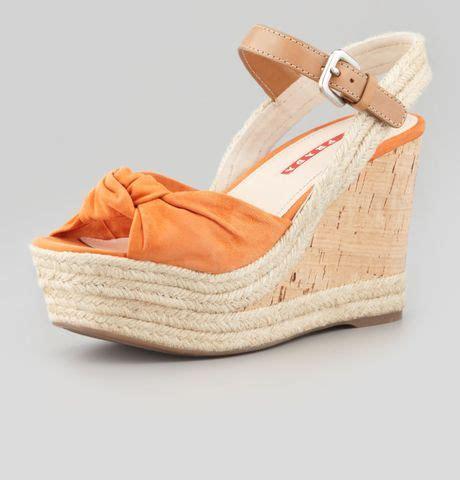orange cork wedge sandals prada knotted suede cork wedge sandals in orange lyst