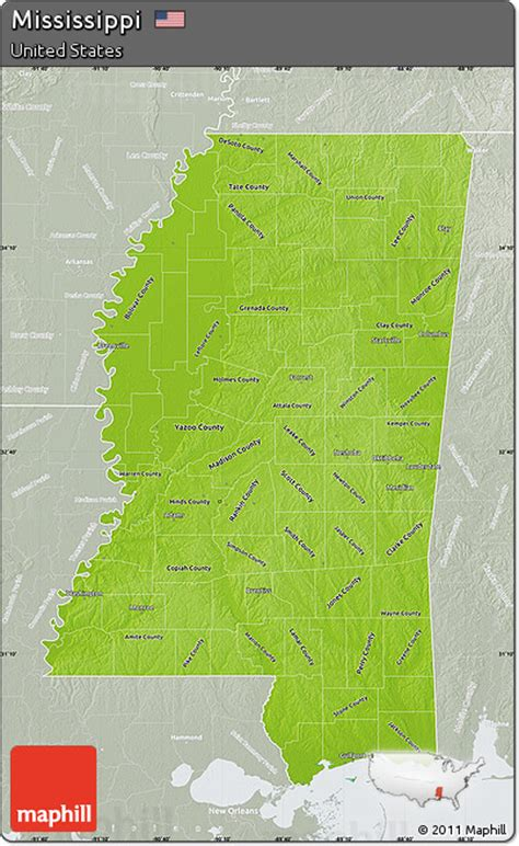 mississippi physical map free physical map of mississippi lighten semi desaturated