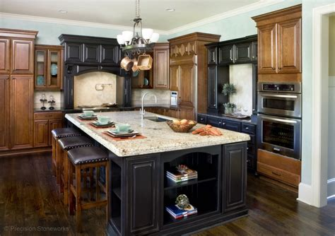 kitchen island with granite precision stoneworks