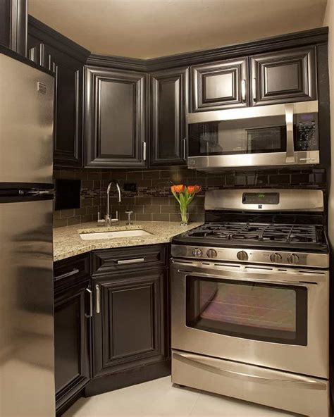 Black Kitchen Cabinets Small Kitchen Small Kitchen With Black Cabinets And Stainless Appliances Ways To Keep Fingerprints