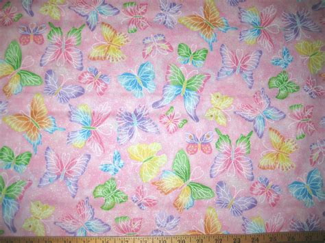 100 Cotton Fabric For Quilting by Pink Multi Color Butterflies 100 Cotton Quilting Fabric