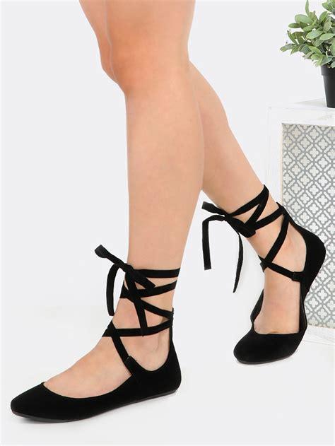 tie up toe ballet flats black makemechic