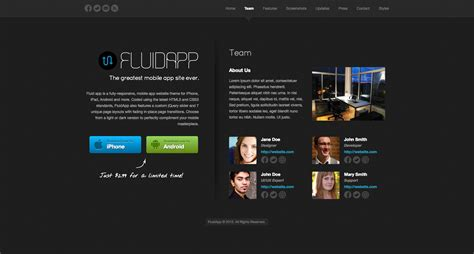 mobile themes themeforest fluidapp responsive mobile app wordpress theme by