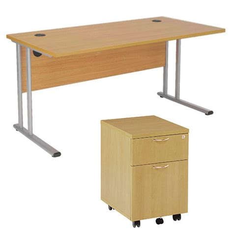 Wide Office Desk by Bundle Offer Rectangular 1600mm Wide Office Desk In Oak With 2 Drawer Pedestal Huntoffice Ie