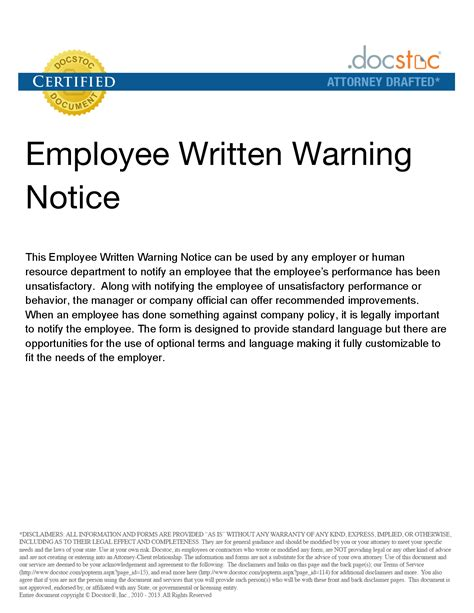 9 best images of employee warning notice template free