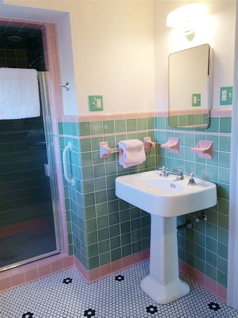 retro pink bathroom ideas see jane design a vintage style green and pink tile