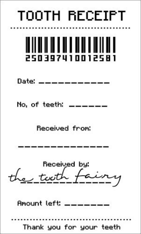 tooth fairy receipt template pdf free printables pinterest