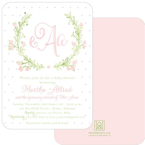 Wall Shower Mave sweet watercolor wreath baby shower invitation suite