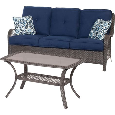 Shop Hanover Outdoor Furniture Orleans 3 Piece Wicker Frame Patio Conversation Set With Green » Home Design 2017