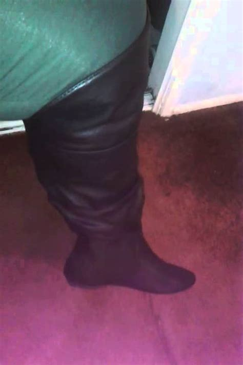 payless wide calf the knee boots try on