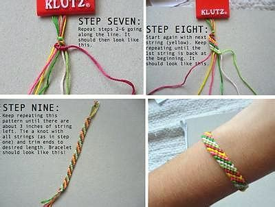 How To Make String Step By Step - how to make friendship bracelets basic diagonal stripe