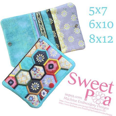 embroidery design wallet hexagon wallet 5x7 6x10 8x12 in the hoop machine