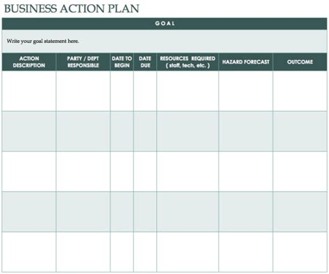 Nice Design Template of Business Action Plan Table Form